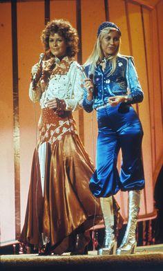 Agnetha Faltskog and Frida Lyngstad at Eurovision Somg Contest in Brighton '1974