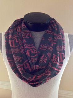 Pink and gray  Von Dutch infinity jersey knit scarf by MsFiggys, $20.00