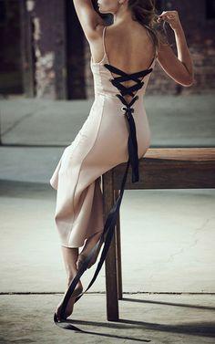 Lace Up Back V-Neck Dress by Mulhier | Moda Operandi