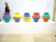 Ai Weiwei: 'Colored Vases', 2008, Neollithic vases and industrial paint (c) photo by Premier Art Scene