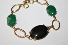 Vintage Bracelet Oynx Chrysophase Cabochon Glass  by patwatty, $28.00