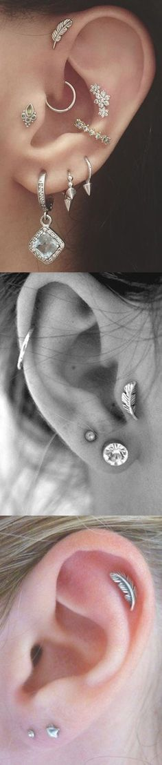 Cute Boho Ear Piercing Ideas at - Leaf Triple Forward Stud - Rook Ring - Cartilage Hoops Our inspiration for our Piercing No Lóbulo, Piercing Implant, Orbital Piercing, Ear Piercings Tragus, Cute Ear Piercings, Tattoo Und Piercing, Cartilage Earrings, Peircings, Leaf Earrings