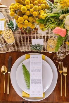 Yellow Wedding Place Setting // Photography ~ Amanda Dumouchelle Photography