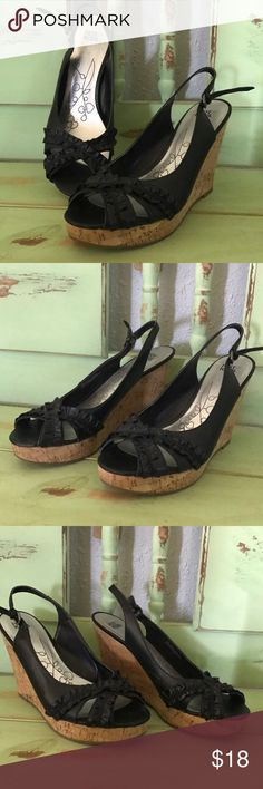Hot kiss black wedges Hot kiss black wedges. Very good condition. Hot Kiss Shoes Wedges