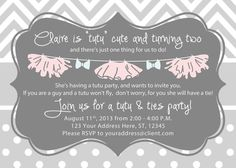 Girl Birthday Invitation - Tutus and Ties Party - Gray