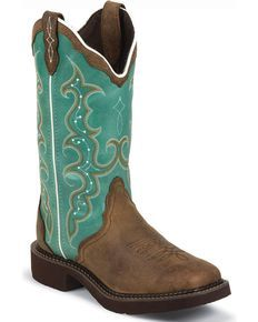 Justin Gypsy Turquoise Cowgirl Boots - Square Toe, Aged Bark