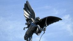 This statue of a winged archer poised with his bow is known as The Statue of Eros. Eros was the God of Love. The statue might really be the Angel of Christian Charity, or Anteros, the brother of Eros, but Londoners call him Eros.