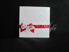 Ръчноизработени сватбена покана в перлено бяло и червено  ARI Style weddings