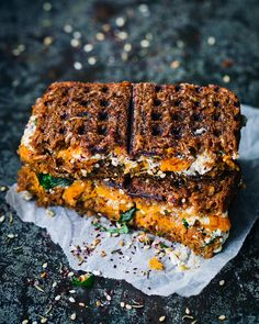 Nothing fancy tonight but so GOOD. And quick. We call these Rye Waffle Toasties. Rye bread with sweet potato, za'atar, spinach, lemon and a labneh+feta cream inside. Toasted in a waffle iron. Swipe to see more 👉🏻 Waffle Sandwich, Rye Bread, Waffle Iron, Dinner Tonight, Meatloaf, Feta, Sweet Potato, Spinach, Waffles