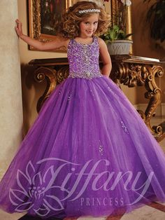 Girls Long Beaded Tulle Dress by Tiffany Princess 13372