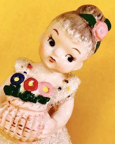 Sugar Coated Flower Basket Cute Shopper Girl Nippon Birthday Vintage Sale Rare | eBay