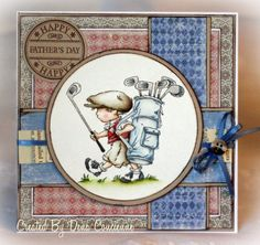 Vintage Boy headed to the golf course . lots of layers (possibly a digi background) . Lily of the Valley stamps Boy Cards, Kids Cards, Cute Cards, Men's Cards, Greeting Cards, Handmade Card Making, Beautiful Handmade Cards, Fathers Day Cards, Tampons