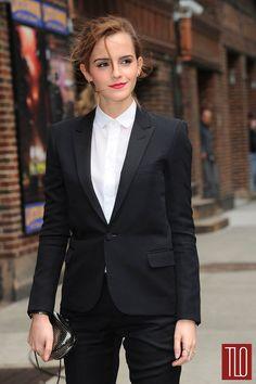 Emma Watson Letterman 2014 Saint Laurent blazer, shirt, and pants paired with a Reece Hudson minaudière