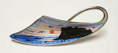 Vintage AKSEL HOLMSEN Sterling Silver Enamel Scenic Pin Brooch - Norway   eBay