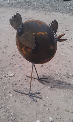 Recycled Garden Art Chicken From Old Farm Disk Free by Junkfx, $150.00