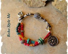 Boho Bracelet Earthy Natural Wrap Bracelet Colorful by BohoStyleMe