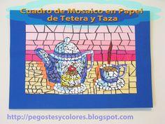 Pegostes y Colores: Cuadro de Mosaico de Papel de Tetera y Taza Paper Mosaic, Blog, Tea Pots, Picture Wall, Recycling, Mosaics, Tutorials, Paper Envelopes, Colors