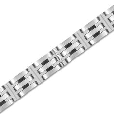 SKU:BRV2423-ST,   Price:$89.99,   Info:.05cttw Stainless Steel High Polish Gents Bracelet - Jewelry Deals 80% OFF + $25 OFF extra discount on purchases $500 & UP ! Enter PINPROMOT coupon at CHECKOUT to get $25 OFF when you place your order @ NissoniJwelry.com