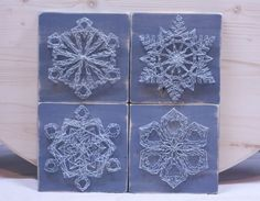 Snowflake String Art Set Winter Decor 7.5in x 7.5in Each