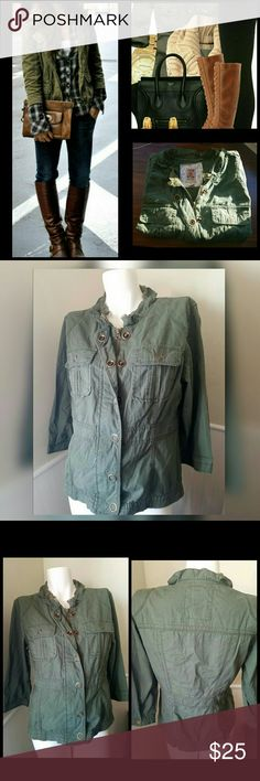 """Olive Green Jacket Gently worn. Military style jacket. With brass snap buttons and zipper. Has lace detailing at neckline. Fitted Silhouette. Front pockets.   Measurements:  Bust 37"""" - 38.5""""  Waist 29"""" - 30.5""""  Hip 40"""" - 41.5""""  Inseam 14"""" (underarm down)  Length 21.5""""  Sleeve length 17.5""""   Get an additional 30% off when purchasing 3 or more items using the bundle feature. Always willing to negotiate. Decree Jackets & Coats"""