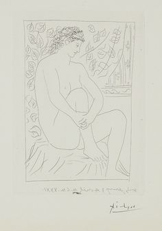Pablo Picasso, Femme nue assise devant un rideau (Nude Woman Sitting in Front of a Curtain), plate 4 from La suite Vollard, 1931, etching, on montval paper, with full margins, 50.2 x 38.1 cm