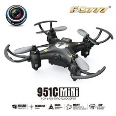Mini FQ777-951C 2.4Ghz 4CH 6-Axis Gyro RC Quadcopter 360 Roll Headless Mode Helicopter Drone Camera Drones Record RTF