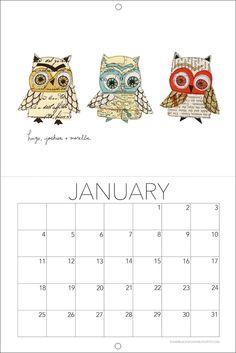 NEW for 2015 - lil' collage owl trio calendars Susan Black - Blog - 29 Black Street