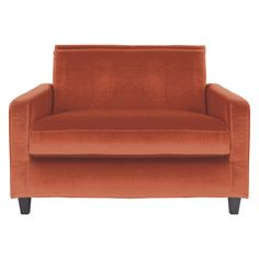 CHESTER Orange velvet compact sofa, dark stained feet