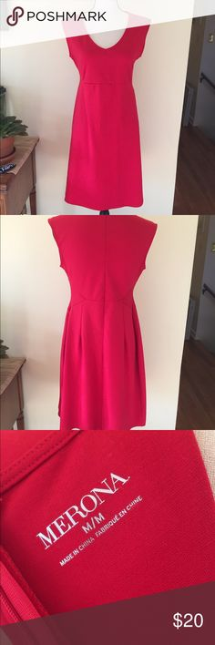 NWOT red Merona dress perfect for holiday photos! NWOT...I took off the tags and hung in my closet, but have never worn or washed. Pretty, red dress perfect for the holidays! Save and wear for Valentine's Day! I bought to wear as a professional dress for work, but seem to pick pants most days so I'm clearing out my closet! Dress is polyester, rayon mix with some spandex. Merona Dresses Midi