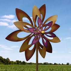 Dancing Sunflower Windmill Gold Purple Metal Outdoor Artistic Stylish Decoration