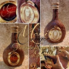 """HANDMADE CREATIONS By Emanuil Stanev https://www.facebook.com/Handmade.Personalized.Creations Personalized Bottle """"MARIA COGNAC""""  Handmade decoration and application: a Palm Bark Graphic design of an unique personal bottle label ( front and back part of the bottle). A protective layer special coating.  All materials, clues and varnishes are harmless to your health."""