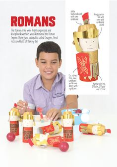 The Roman Army made from toilet rolls. From The History Issue of Lotta Magazine