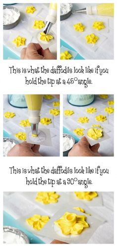 How to Make A Simple Royal Icing Daffodil via www.thebearfootbaker.com