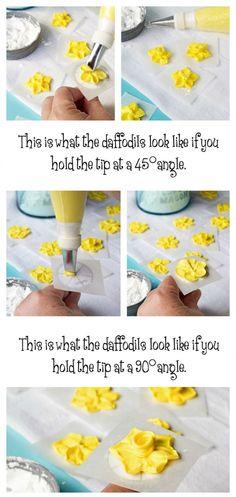 How to Make A Simple Royal Icing Daffodil via www.thebearfootbaker.com