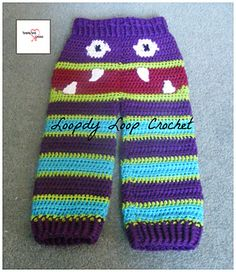 These adorable crochet Monster Pants can be made for your Toddler and not only do they keep them warm but look Oh so CUTE on. Let your imagination run wild with your colour choices.