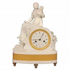 Sevres Bisque Clock Signed Guyon A Lyon Antique Furniture Stores, French Clock, Tic Toc, Old Clocks, Lyon, Porcelain, Watches, Antiques, Collection