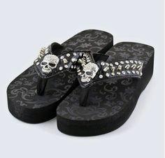 Skull Flip flops Skull Sandals Sugar skull by lovesweetobsessions