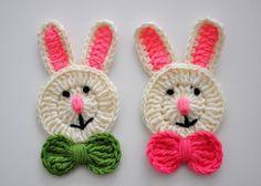 Animal Figured Knit Applique Models – Strick-Tiermotive - My CMS Crochet Applique Patterns Free, Crochet Bunny Pattern, Crochet Motifs, Baby Knitting Patterns, Crochet Appliques, Crochet World, Crochet Toys, Easter Crochet, Knitting For Kids