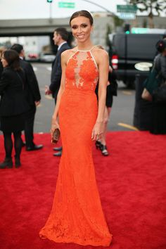 Giuliana Rancic Illusion Orange Lace Mermaid Celebrity Evening Dress Grammys