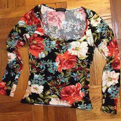 """Floral long sleep crop T Low scoop neck. From nasty gal """"Milkyway"""" brand Nasty Gal Tops Tees - Long Sleeve"""