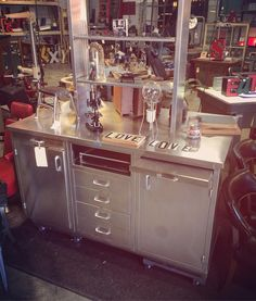 Featuring this amazing double-sided #stainless cabinet that we got from the GM Plant a few years back.  This could be a badass kitchen island.  #societyofsalvage #salvaged #vintagemedical #repurpose #reclaim #reuse #indysalvage