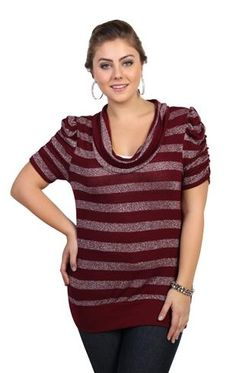 plus size striped tunic top with cowl neck