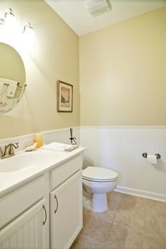 Small master bathroom with nicely finished white wainscoting. Luxury Master Bathrooms, Dream Bathrooms, Beautiful Bathrooms, Modern Bathroom, Bathroom Ideas, Wainscoting Bathroom, Splish Splash, Simple Colors, Showcase Design