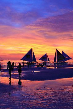 When I admire the wonders of a sunset or the beauty of the moon my soul expands in the worship of the creator. (Mahatma Gandhi) Where have you seen the most colorful sunsets? I witnessed this explosion of colors in the Philippines. Amazing isn't it? Boracay Philippines, Philippines Beaches, Philippines Travel, Amazing Sunsets, Beautiful Sunset, Beautiful Places, Amazing Places, Places To Travel, Places To See
