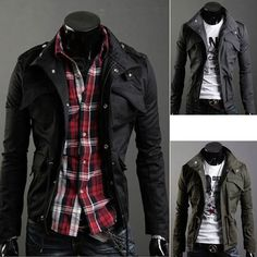 Free Shipping Hot Slim Sexy Top Designed Men's Jacket Coat Cool Men's Clothing Color:Black,Army green,Gray Size:M XXL-inJackets from Apparel...