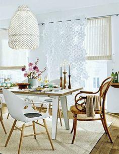 Como colocar cadeiras diferentes na mesa de jantar ?