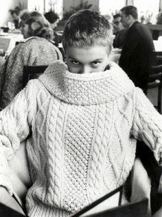 Jean Seberg wearing a chunky knit.