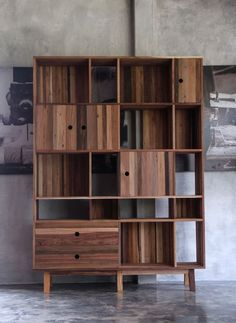 Reclaimed wood for truly interested studio shelving. Modern Furniture Made from a Mix of Reclaimed Woods
