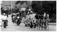 Tom Simpson (Peugeot-BP), Raymond Poulidor (Mercier-Hutchison), Willy Brocklandt (Flandria-Romeo) and Vincenzo Meco (Cite) leading the field in the 'monument' classic Milan-San Remo race. Tom won this 55th running of the race in a record time of 42.420 k.p.h. with Poulidor second and Brocklandt third.