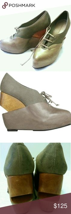 """All saints bura platform wedge shoe Graphite gray two part artisan wooden wedge with unique over lasting upper and rouleau leather lacing and a deconstructed Oxford style shoe ...leather upper ..leather lined..leather sole ..wooden 4"""" heel and a 1"""" platform ... All Saints Shoes Wedges"""